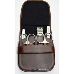 HEIKO WILD Luxusní pánská manikúra s nerez nástroji sada v koženém pouzdře